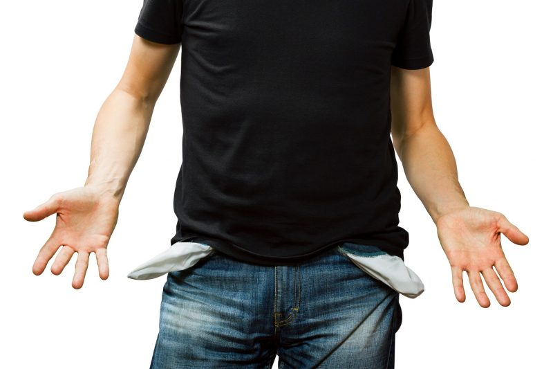 man showing his empty pocket, turning his pocket inside out, no money